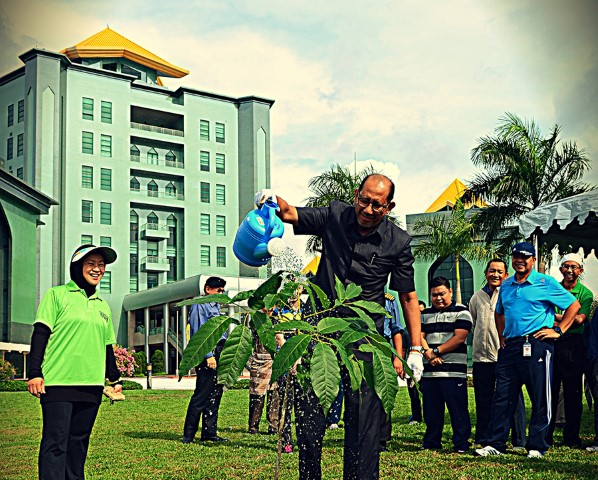 Deputy Minister of Defence, Dato Paduka Hj Mustappa bin Hj Sirat planted a tree called Tabebuia at MINDEF compound to promote and preserve Brunei's tropical environment